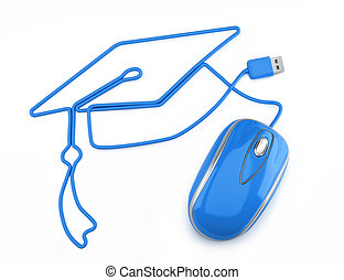 Online education, or online degree concept. Blue mouse with...