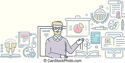 Online education - colorful line design style illustration...