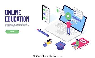 Online education concept. 3d isometric flat banner design. For web, infographic or print. Vector illustration