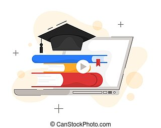 Online education concept. Digital training and distance learning. E-learning and modern technology concept. Get knowledge online using computer. Flat vector illustration
