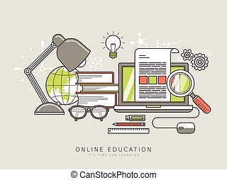 online education concept in thin line style