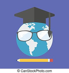 Online education concept. Flat design stylish.