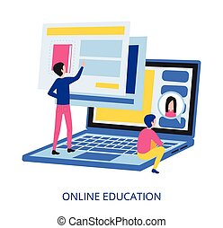 Online Education concept, flat design vector illustration