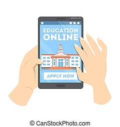 Online education concept. Hand pushing apply now