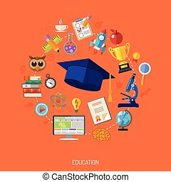 Online Education Concept - Online Education and E-learning...