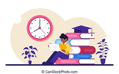 Online education concept. Student with a laptop studies the material over the Internet. Modern flat vector illustrtion.