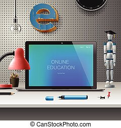 Online education concept, workspace with computer