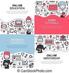 Online Education Design Concept Set