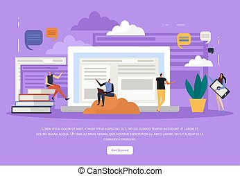 Vector Modern Background Of Flat Online Education E Learning Icons Thin Line Illustration Design For Wallpapers Print