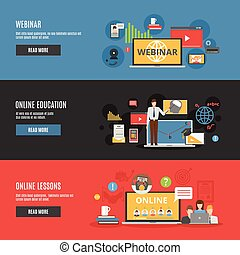 Online education flat horizontal banners with online lessons and webinar decorative icons vector illustration