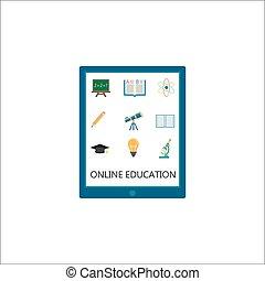 Online education flat icon set, E-learning