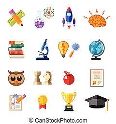 Online Education Flat Icon Set