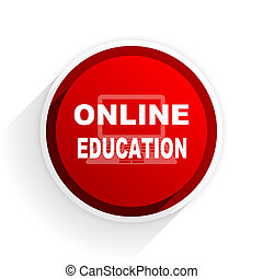 online education flat icon with shadow on white background, red modern design web element