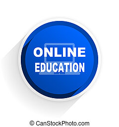 online education flat icon with shadow on white background, blue modern design web element