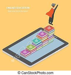 Online Education Flat Isometric Concept.