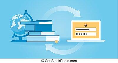 Online education - Flat line design website banner of e-...