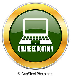Online education green glossy round icon with golden chrome metallic border isolated on white background for web and mobile apps designers.