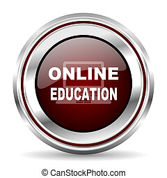 online education icon chrome border round web button silver metallic pushbutton