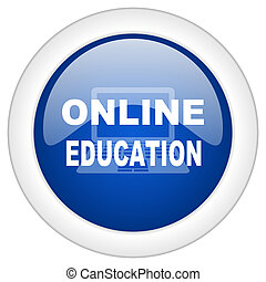 online education icon, circle blue glossy internet button, web and mobile app illustration