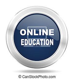 online education icon, dark blue round metallic internet button, web and mobile app illustration