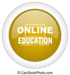 online education icon, golden round glossy button, web and mobile app design illustration