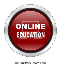 online education icon, red round button isolated on white background, web design illustration
