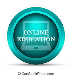 Online education icon. Internet button on white background....