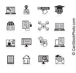 Online Education Icons Black