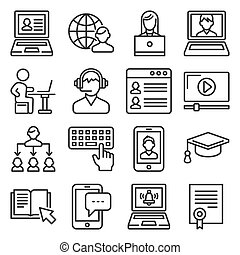 Online Education Icons Set on White Background. Line Style Vector