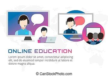 Online education illustration. Webinar, school, university courses. Students, people silhouette and online education objects. Man silhouette. Abstract people. Teambuilding. Group of people. School