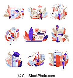 Online education isolated abstract icons web books and...