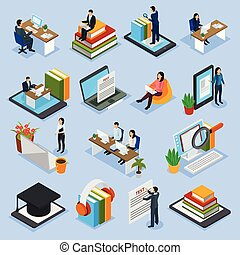 Online Education Isometric Icons - Online education...