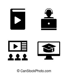 Online Education, Learning. Simple Related Vector Icons Set...