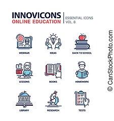 Online education line design icons set - Online Education -...