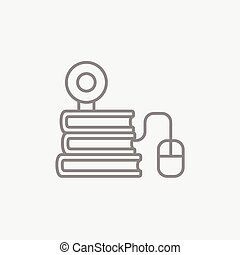 Online education line icon. - Computer mouse connected to a...