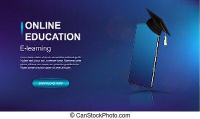 Online education modern web banner template