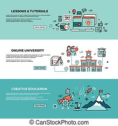 Online education, on-line training courses, staff training, web tutorials vector banners set
