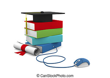 On line Univesity concept. Distance Learning Courses and Degree.