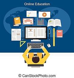 Online education or e-learning concept illustration.