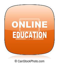 online education orange square web design glossy icon
