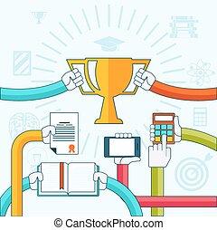 Online education, personal development concept