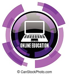 Online education pink violet modern design vector web and smartphone icon. Round button in eps 10 isolated on white background.