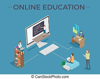 Online Education Process Template Vector Poster