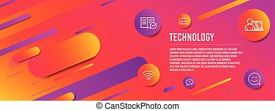 Online education, Question mark and Wifi icons set. Portfolio, Approved documentation and Smile signs. Vector