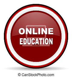 online education round glossy icon, modern design web element