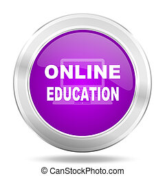online education round glossy pink silver metallic icon, modern design web element