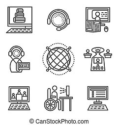 Online education simple vector icons set