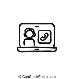 Online education sketch icon.