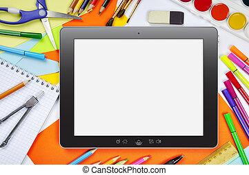 Online education - Concept of online education. Tablet pc...