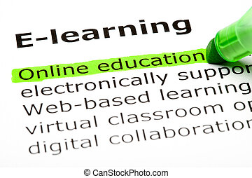 Online education - 'Online education' highlighted in green,...